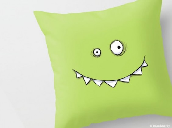 Happy Green Monster Cushion