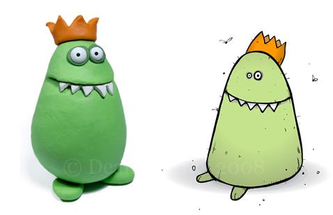 Part Monster 2d and 3d illustration