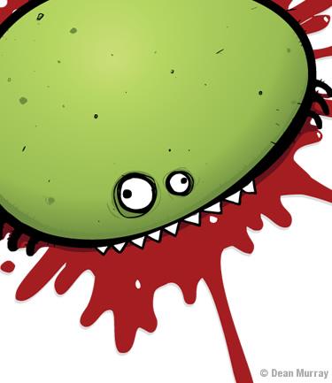 Splattered green bug